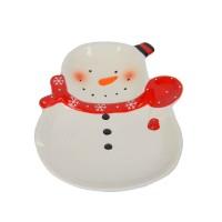 """Новогодняя тарелка """"Снеговик"""" 24*18см NG018"""