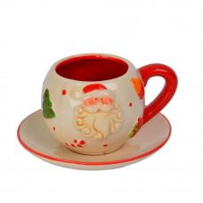 Новогодняя чашка с блюдцем NG106