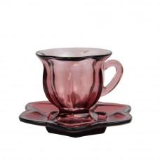"""Набор чашек с блюдцами """"Flower"""" фиолетовый VB421"""