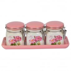 """Набор банок для сыпучих продуктов  """"Flowers"""" YX1208"""
