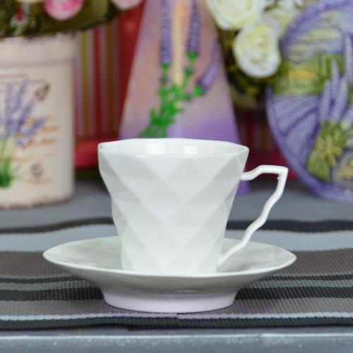 """Набор фарфоровых чашек с блюдцами """"Rhombus M"""" FR220"""
