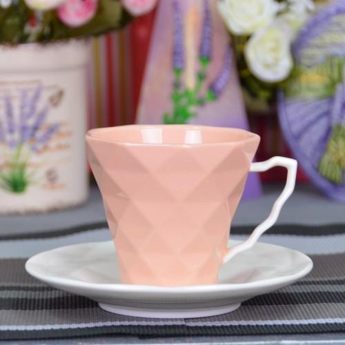 """Набор фарфоровых чашек с блюдцами """"Rhombus L"""" FR221"""