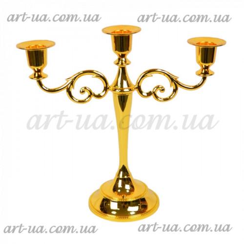 """Подсвечник канделябр на 3 свечи """"Gold"""" M6403"""
