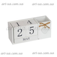 Вечный календарь с подставкой для ручек белый PR365