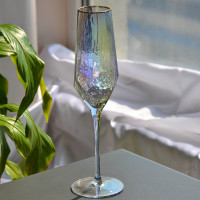 Бокал под шампанское с золотым ободком перламутровый 300мл ST124