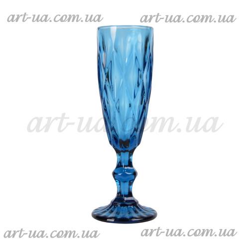 """Бокал под шампанское """"Rhombus"""" синий VB624"""
