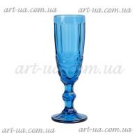 """Бокал под шампанское """"Ornament"""" синий VB785"""